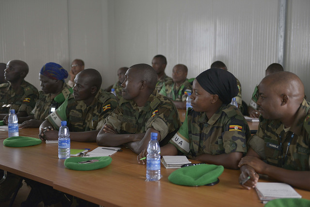 Officers listening to a facilitator during a workshop by AMISOM to sensitize its Officers on sexual exploitation and Abuse held on 30th January 2014. AU UN IST PHOTO/David Mutua