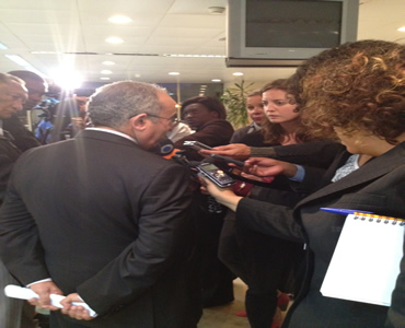 AU Commissioner for Peace and Security, Ambassador Ramtane Lamamra, briefs representatives of the Media at the end of the ministerial meeting, AU Headquarters