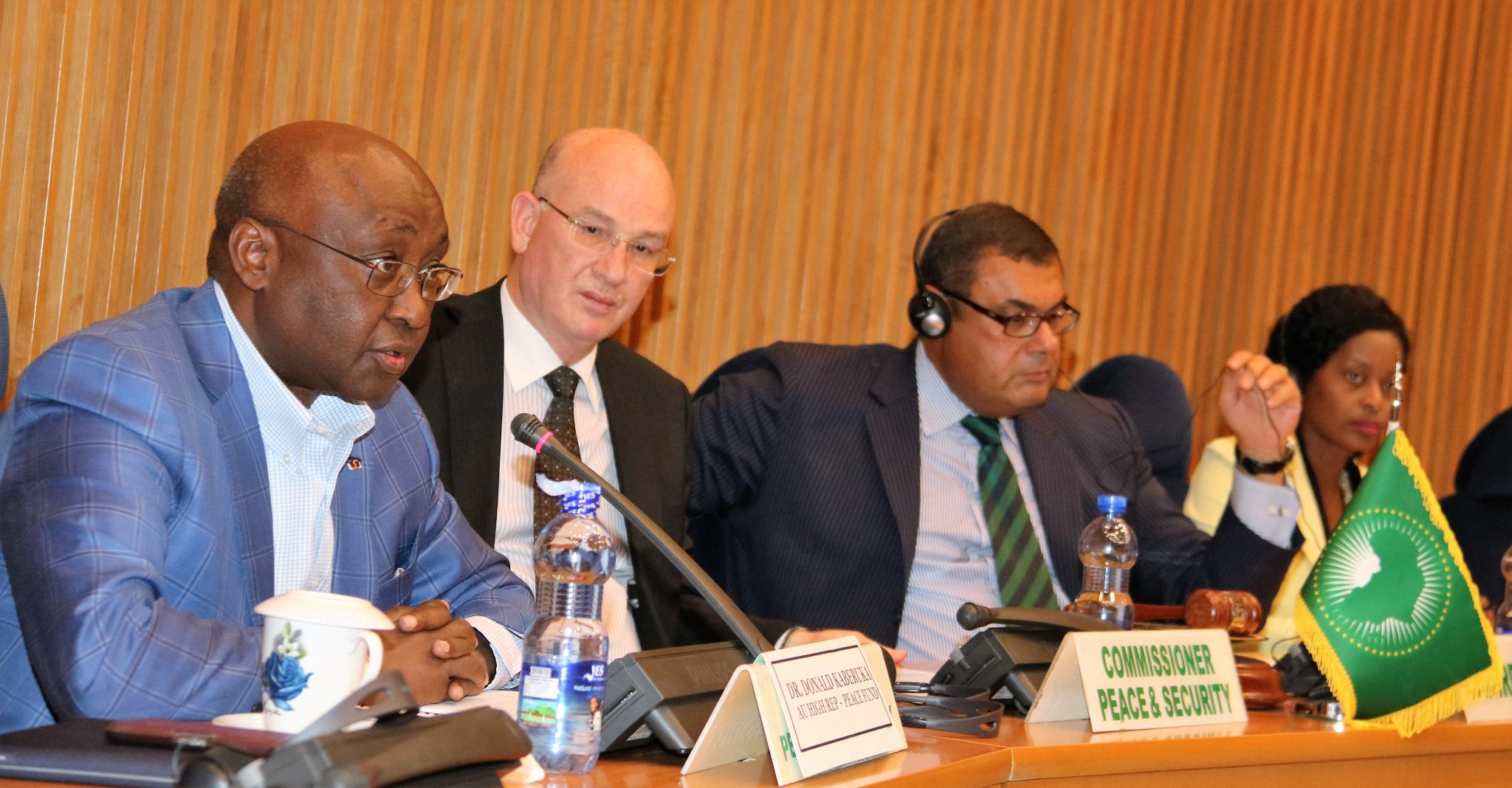 AU High Rep. for Peace Fund Dr.Donald Kaberuka briefing the PSC on implemention of AU Assembly Decision on Financing AU.