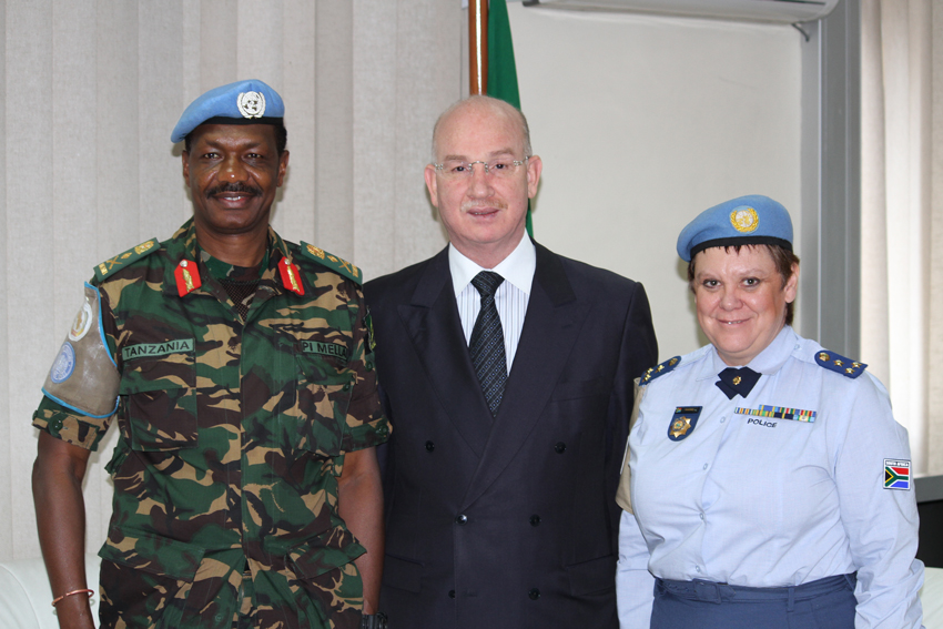 AU Commissioner for Peace and Security, Amb. Smail Chergui receives African Union-United Nations Mission in Darfur (UNAMID) Force Commander, Lt. General Paul Ignace Mella and UNAMID Police Commissioner, Hester Paneras who paid him a courtesy call at his office, at the AU Headquarters in Addis Ababa