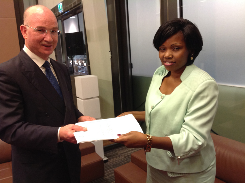African Union Commissioner for Peace and Security, Ambassador Smail Chergui and Minister of Foreign Affairs, Central African Republic (CAR), Ms. Leonie Banga – Bothy after signing the Agreement that sets out the terms and conditions of the presence of MISCA.