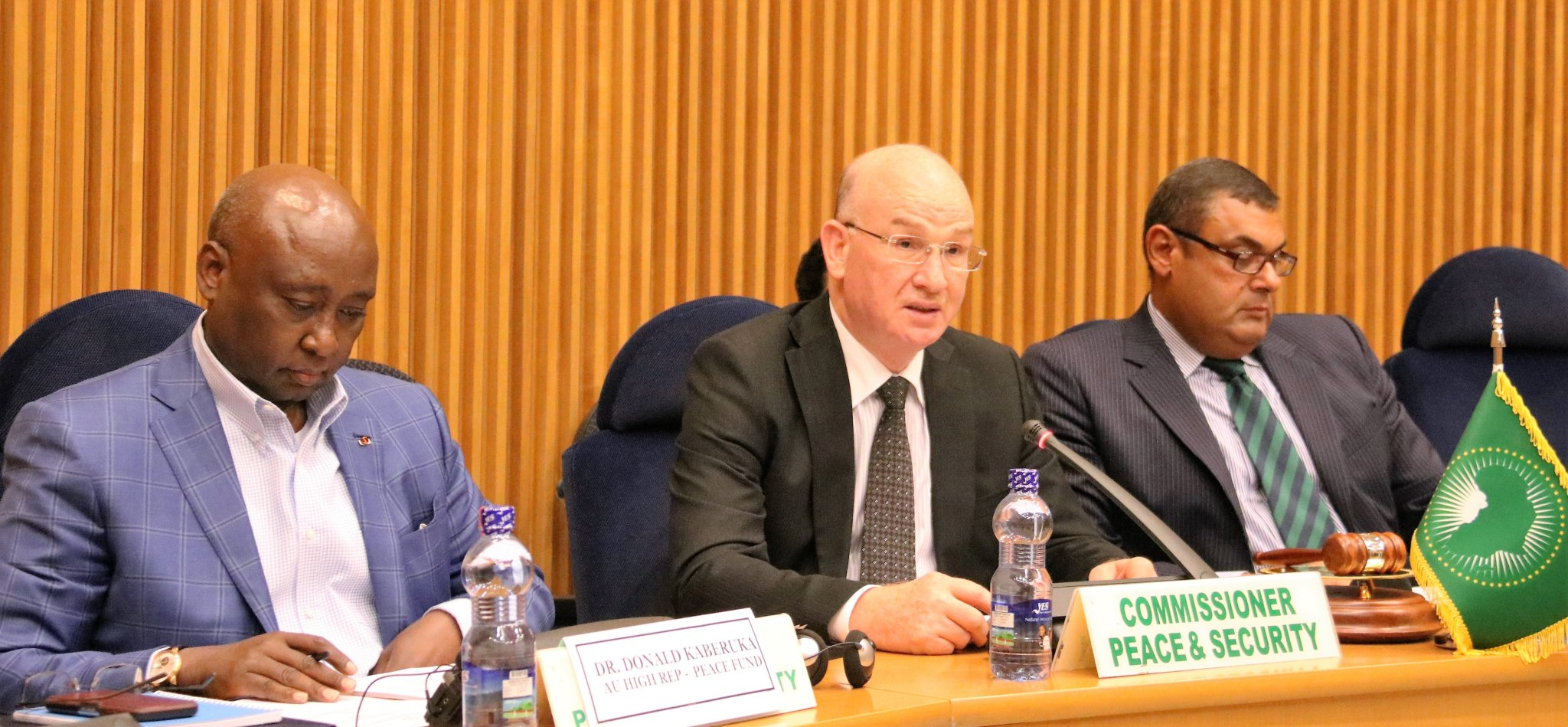 Dr. Donald Kaberuka (left), Ambassador Smail Chergui  (center) and PSC Chair Egypt Ambassador Hefny during the  621th meeting, held on 5 September 2016.