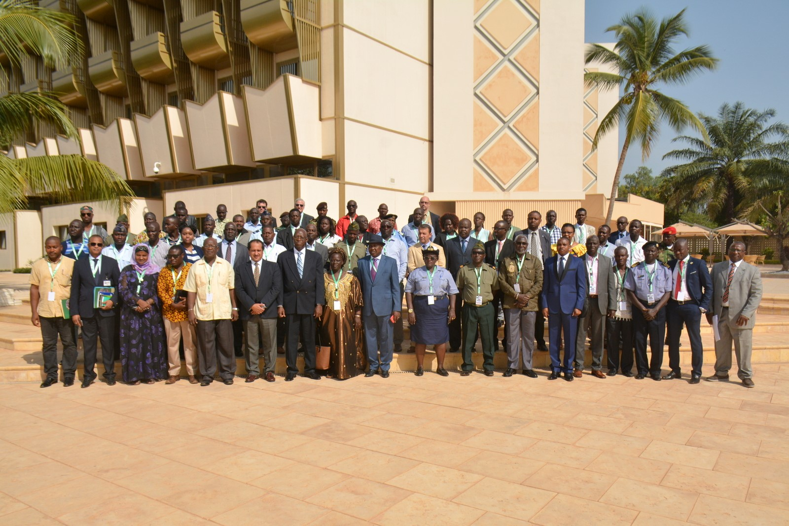 The Guinea Bissau Minister of National Defense and National Liberation Ex-combatants, Dr. Eduardo Costa Sanha [7th from left] with AU officials and workshop participants