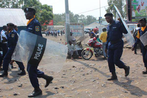 Police officers trying to maintain calm during demonstrations in Kinshasa, capital of the Democratic Republic of the Congo. Photo: MONUSCO