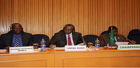Representatives of the Malian Association for Human Rights with Mr. Sekou Camara, Ambassador of the Republic of Guinea and Chair of the PSC for the month of December at the Open Session of the PSC on International Justice