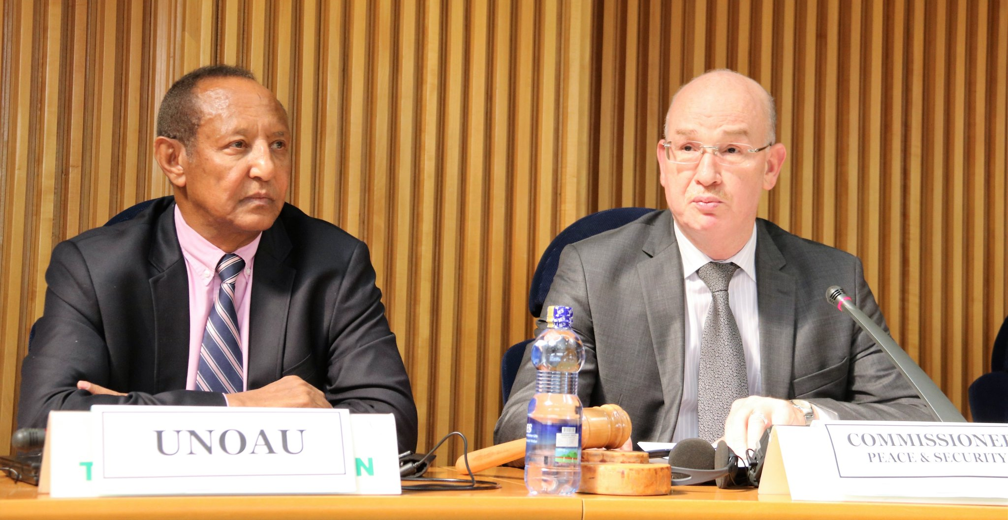 UNOAU SRSG Haile Menkerios (left) and Ambassador Smail Chergui (right) during the opening session of the Seminar on the operationalization of the African Union Mediation  Support Unit