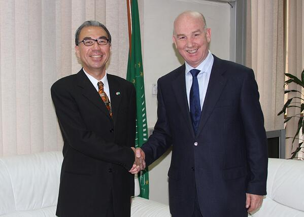AU Comm. Peace & Security, Amb. Chergui, receives Amb. Suzuki of Japan &his country's donation of $5million