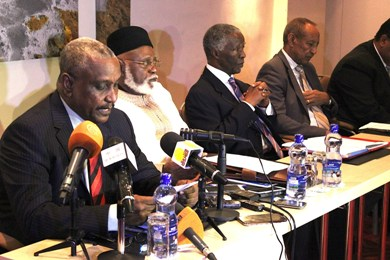 SPLM-N secretary-general and chief negotiator speaks at the opening session of peace talks in the Ethiopian capital, Addis Ababa, on 13 February 2014 (Photo: AUHIP)