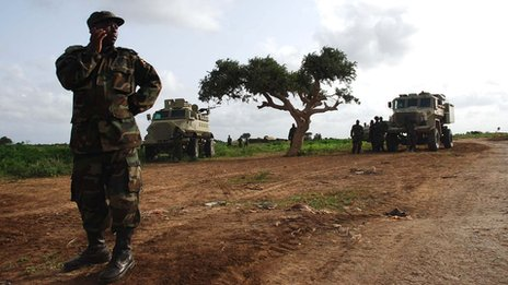 African Union Troops recover stolen relief food from Al-Shabaab Camp.