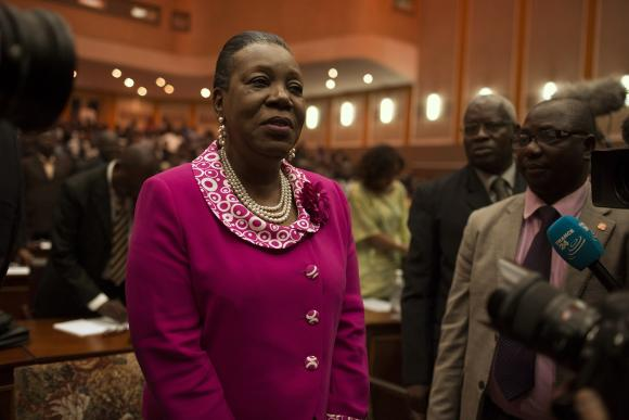 Catherine Samba-Panza reacts after she was elected as Central African Republic's interim president at the national assembly in Bangui January 20, 2014. CREDIT: REUTERS/SIEGFRIED MODOLA