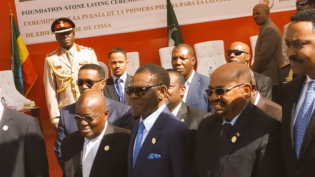 Presidents of Equatorial Guinea, Sudan and Ghana after the ground breaking ceremony for CISSA headquarters during 28th AUSummit