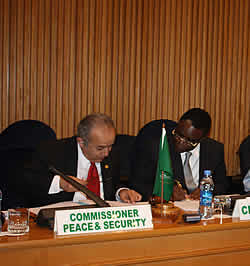 Ambassador Ramtane Lamamra, AU Commissioner for Peace and Security and Mr. Basile Ikouebe, Minister of Foreign Affairs, Cooperation and La Francophonie of the Republic of the Congo
