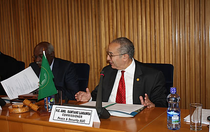 (From L-R) Mr Yukiya Amano, Director General of the International Atomic Energy Agency (IAEA), Ambassador Abdul Samad Minty, Chairperson of the African Commission on Nuclear Energy (AFCONE), Ambassador Ramtane Lamamra, Commissioner, Peace and Security, Dr. Tarek A. Sharif , Head, Defence and Security Division (DSD)