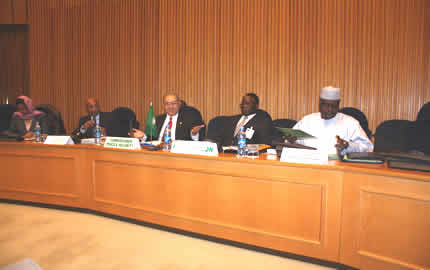 (From L-R) Ms. Hawa Ahmed Youssouf, Special Representative of the Chairperson of the AUC to CAR, Mr. Taye Zerihun, Assistant-Secretary General of the United Nations (UN) for Political Affairs, Ambassador Ramtane Lamamra, AU Commissioner for Peace and Security,  Mr. Basile Ikouebe, Minister of Foreign Affairs, Cooperation and La Francophonie of the Republic of the Congo and Mr. Moussa Faki Mahamat, Minister of Foreign Affairs and African Integration of the Republic of Chad