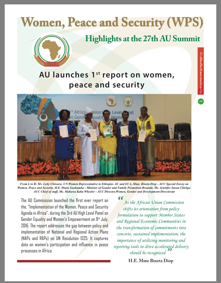 AU Women, Peace and Security (WPS): Highlights at the 27th AU Summit