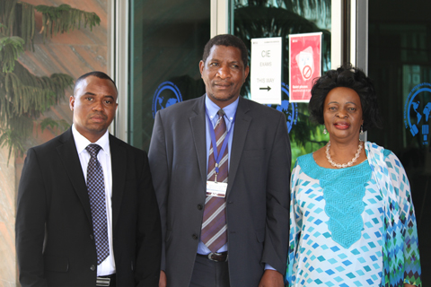 From right: Chairperson of the Lusaka AU PSC Retreat, Ambassador Osman Kamara of Sierra Leone, Ag. Director for Peace and Security, Dr. Admore Kambudzi and Her Excellency, Susan Sikaneta, Zambia's Ambassador to Ethiopia and the AU.