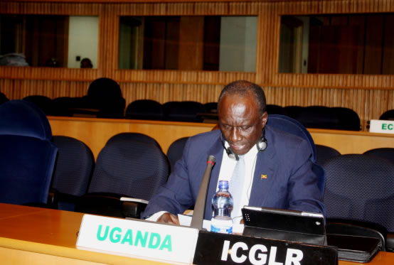 Ambassador of Uganda to Ethiopia, Mull Katende and Chair of the International Conference on the Great Lakes Region (ICGLR), addressing participant