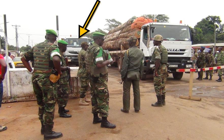 Les troupes de la MISCA durant le transit des convois humanitaires reliant la le Cameroun a la RCA