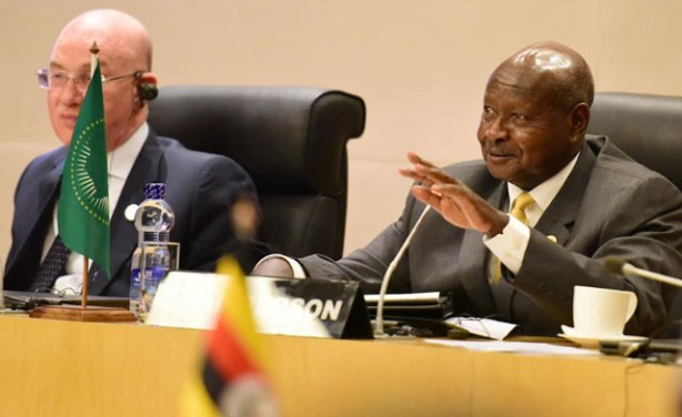 President Yoweri Museveni speaking during LRA Summit.