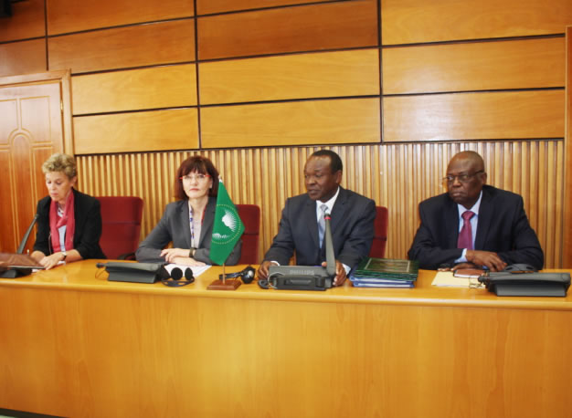 (From L-R) Ms. Lieselore Cyrus, the German Ambassador to the AU, Ms. Ulrike Haupt, Head of Division, Regional Development Policy Africa, Federal Ministry for Economic Cooperation and Development, Mr. Erastus Mwencha, Deputy Chairperson, AUC, and  Prof.  Jean Pierre Ezin, AU Commissioner for Human Resources, Science and Technology