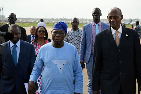 The African Union Commission of Inquiry on South Sudan (AUCISS), led by former Nigerian president Olusegun Obasanjo, arrives in Juba on April 24, 2014 for the start of its first field mission to the country. FILE PHOTO | SAMIR BOL | AFP