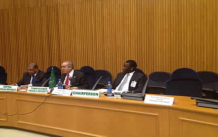 (From L-R) CAR's Premier Nicolas Tiangaye,  Ambassador Ramtane Lamamra, AU Commissioner for Peace and Security and Mr. Basile Ikouebe, Minister of Foreign Affairs, Cooperation and La Francophonie of the Republic of the Congo