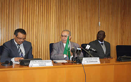 (From L-R) Minister of Foreign Affairs, Tedros Adhanom, AU Commissioner for Peace and Security, Ramtane Lamamra and Brigadier-General Jean Baptiste Tine