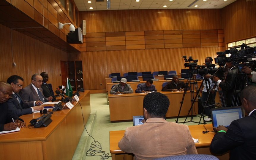 AU Commissioner for Peace and Security, Ramtane Lamamra and Minister of Foreign Affairs, Tedros Adhanom addressing representatives  of the Media