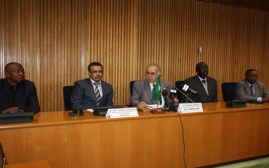 (From L-R) Major-General (Retired) Julius Olakunle Sunday Oshanupin, Minister of Foreign Affairs,  Tedros Adhanom, AU Commissioner for Peace and Security, Ramtane Lamamra, Brigadier-General  Jean Baptiste Tine and Snr. Political Advisor, AUHIP, Abdul Mohammed
