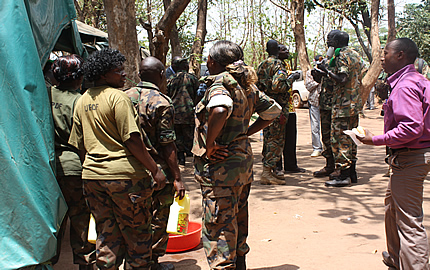 Soldiers from the Uganda People's Defence Forces (UPDF) in their camp, in Yambio town, capital of the Western Equatorial State (WES), South Sudan, 25 September 2012